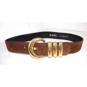 ESCADA Gorgeous Vintage Gold & Suede Waist Belt
